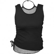 Női Top GOTHIC ROCK - 2in1 Neck Tie Mesh Top Black