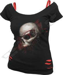 Red Ripped Top SKULL SHOCK
