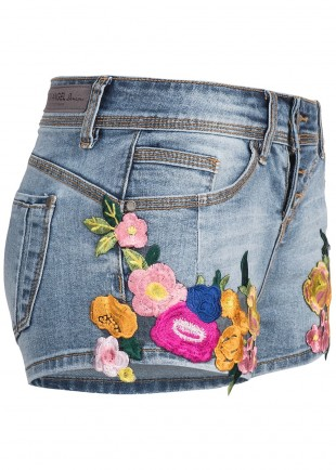 Női Denim Skinny Shorts Flowers
